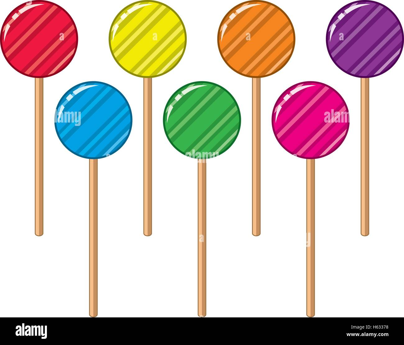 vector collection of colorful lollipop candy balls - Stock Vector