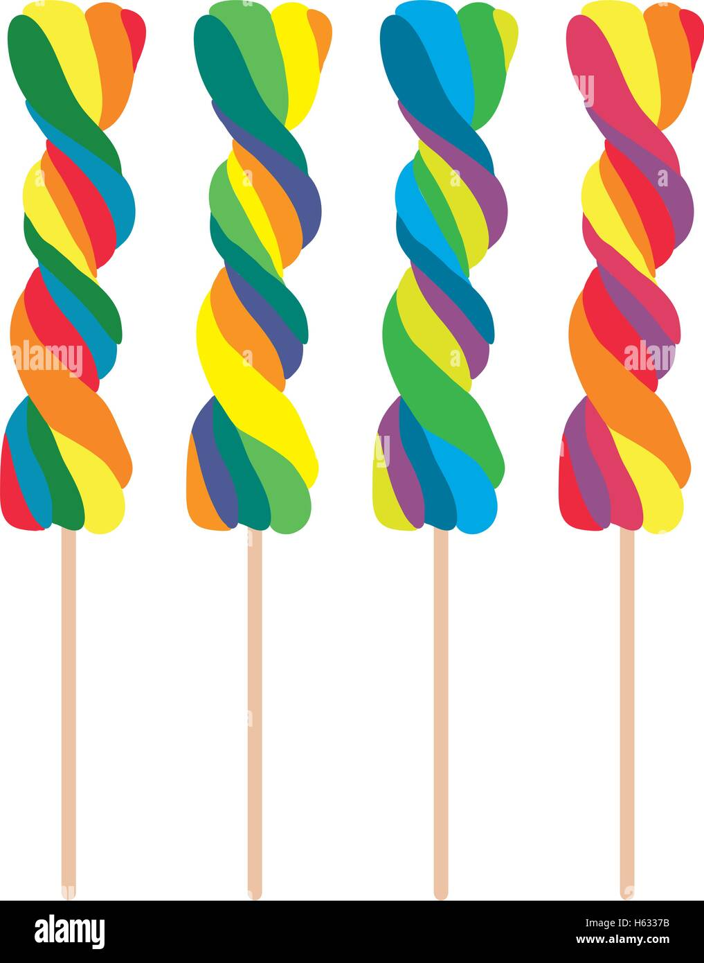 vector set of colorful twisted lollipops - Stock Vector