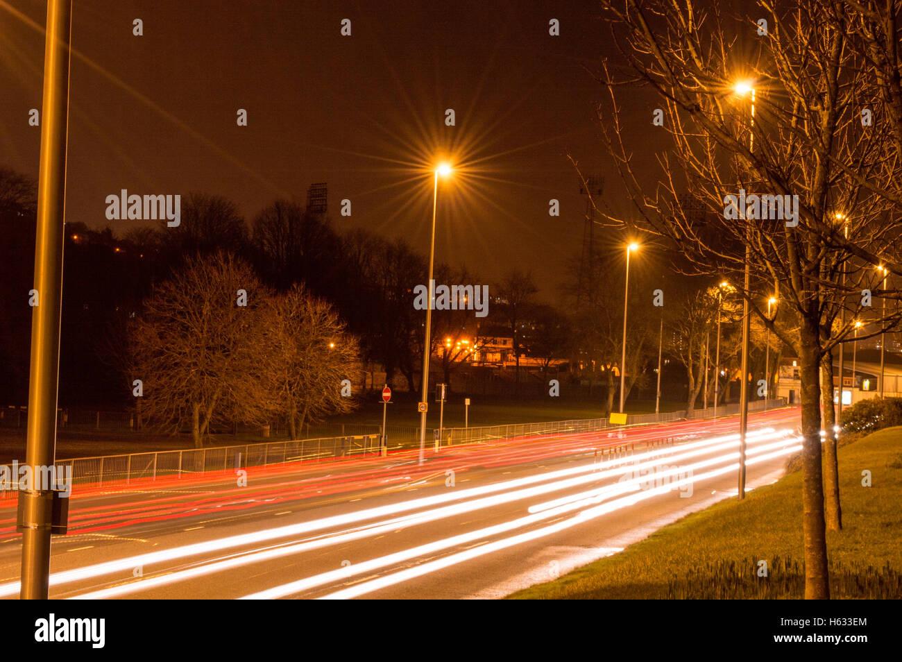 Light TRails, light, trail, night, Swansea, Mumbles Rod, winter - Stock Image