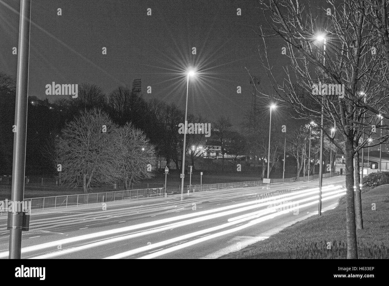 Light TRails, light, trail, night, Swansea, Mumbles Rod, winter - Stock Image