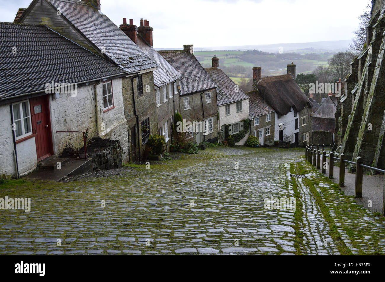 Hill, Shaftesbury, Somerset, Hovis, Gold Hill - Stock Image
