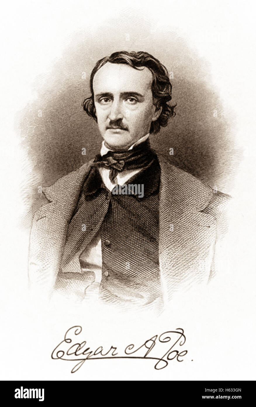 Portrait and signature of Edgar Allan Poe (1809-1849), engraved by R. Andersen circa 1850. See description for more - Stock Image