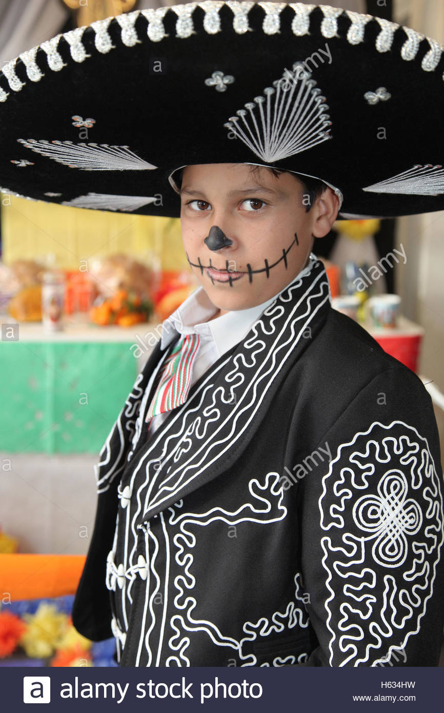 Mexican boy dressed in a traditional mariachi outfit and his face decorated with skeleton make-up during the Day of the Dead.  sc 1 st  Alamy & Mexican boy dressed in a traditional mariachi outfit and his face ...