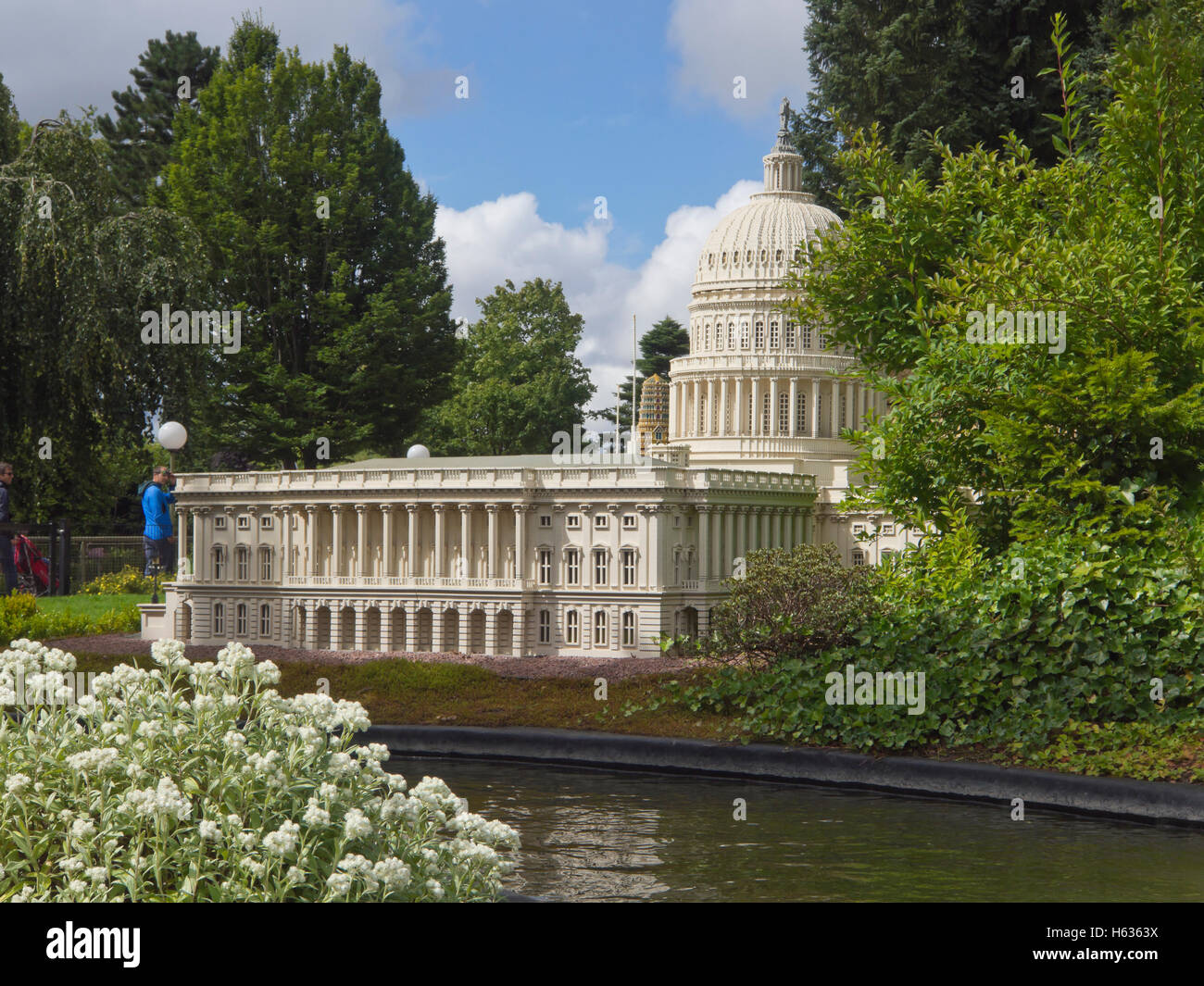 Take a boat ride in Legoland Billund Denmark, past the American Capitol building built from Lego bricks Stock Photo