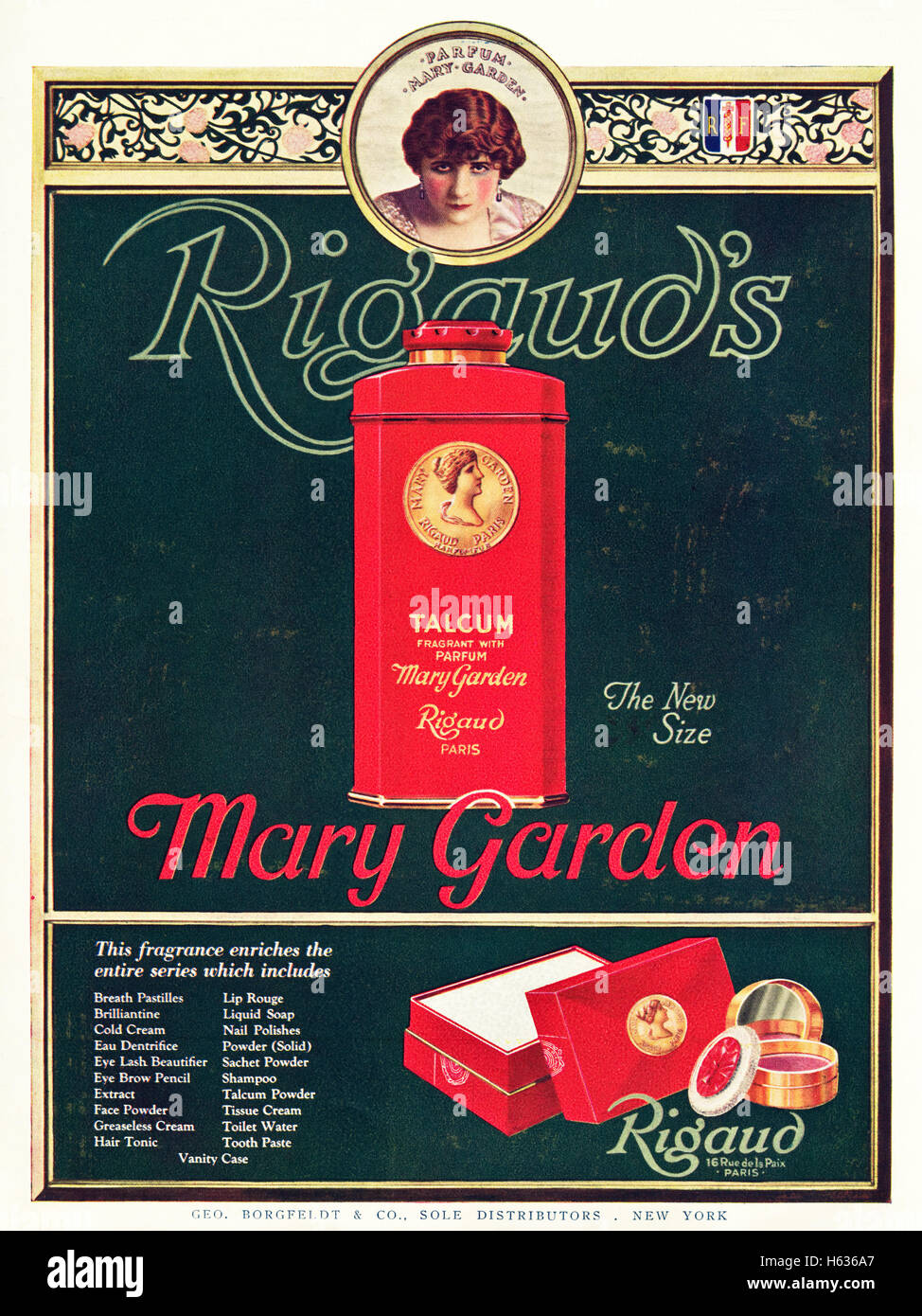 1920s advertisement advert from original old vintage American magazine dated 1921 advertising Mary Garden Rigaud - Stock Image