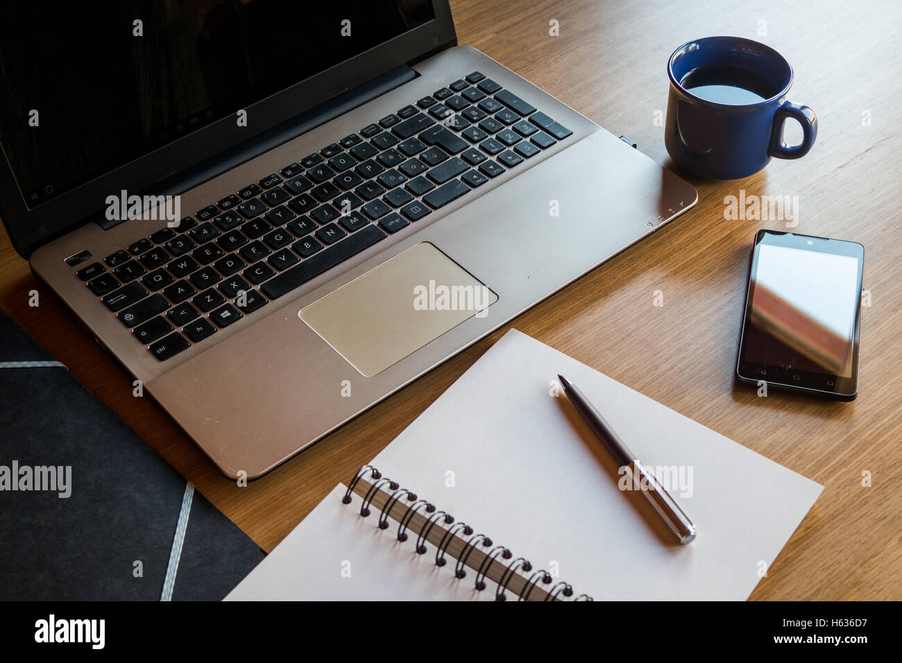 laptop office desk. Office Desk With Laptop, Smartphone, Notebook, Folders And Coffee Cup Laptop K
