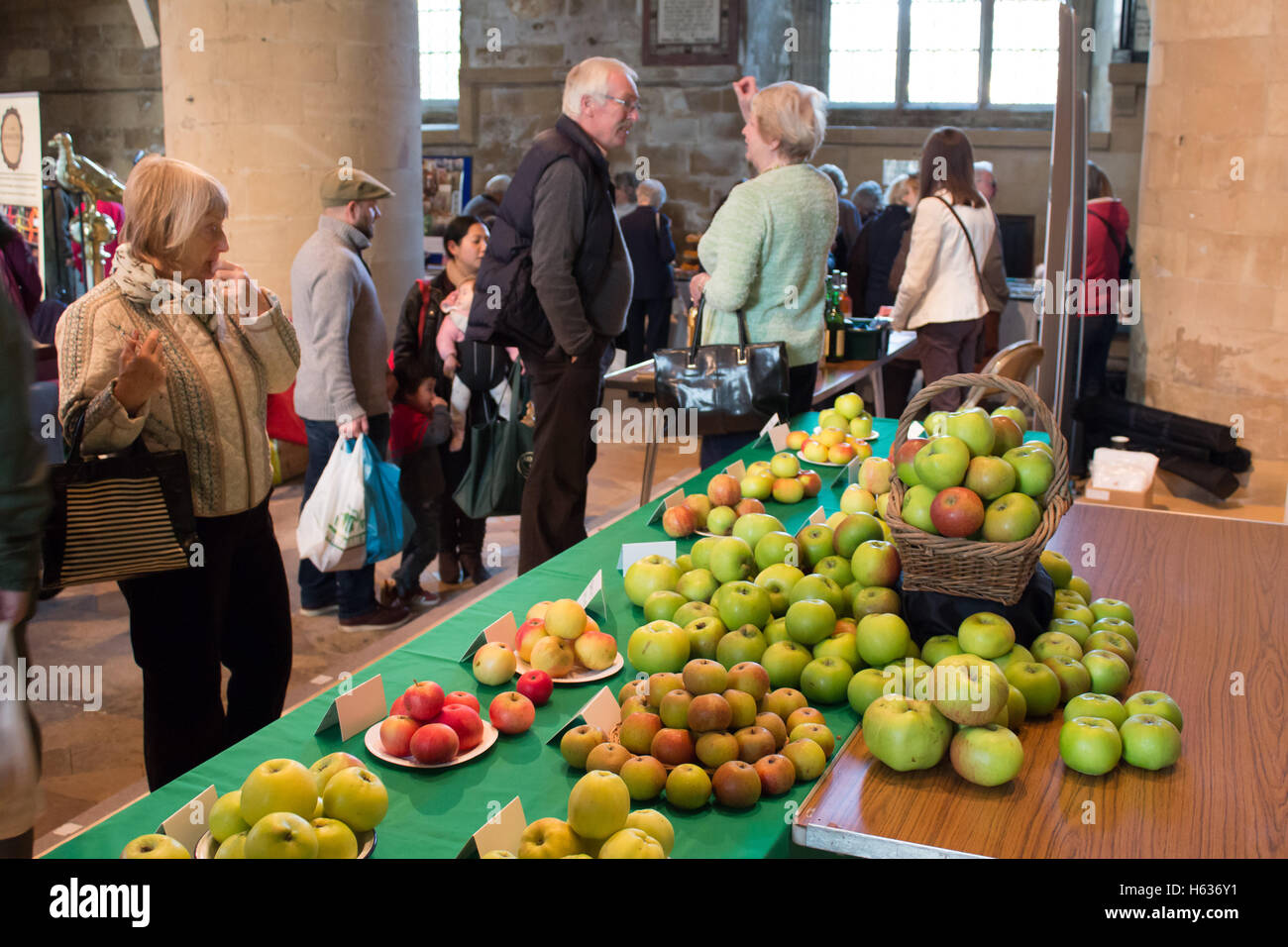 Apples on display in side Southwell Minister during the Bramley apple festival. The first Bramley apple tree was - Stock Image