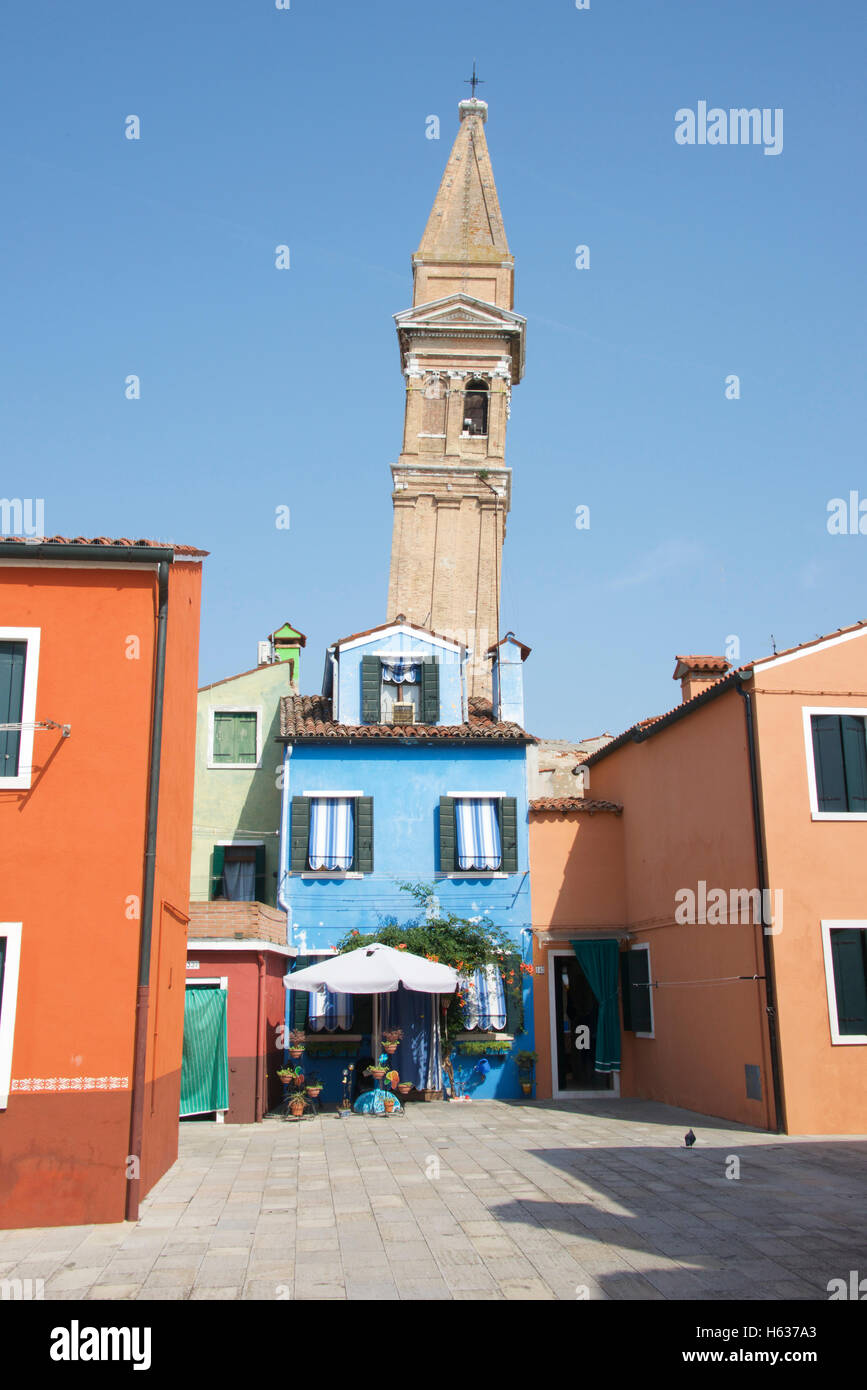 Church with crooked tower, Burano, Venice - Stock Image