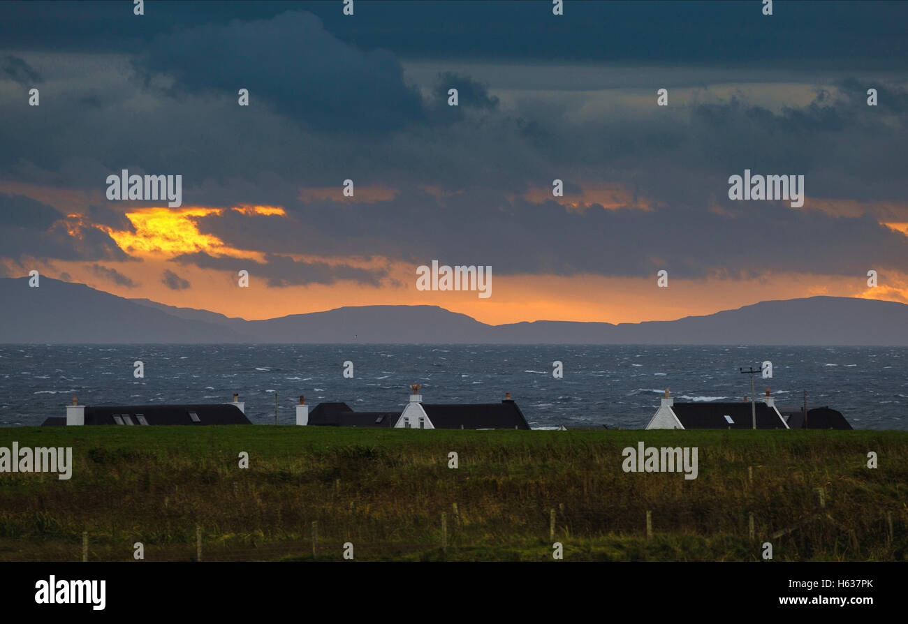 View from Balemartine to Mull.,Tiree,Inner Hebrides,Argyll and Bute,Scotland - Stock Image