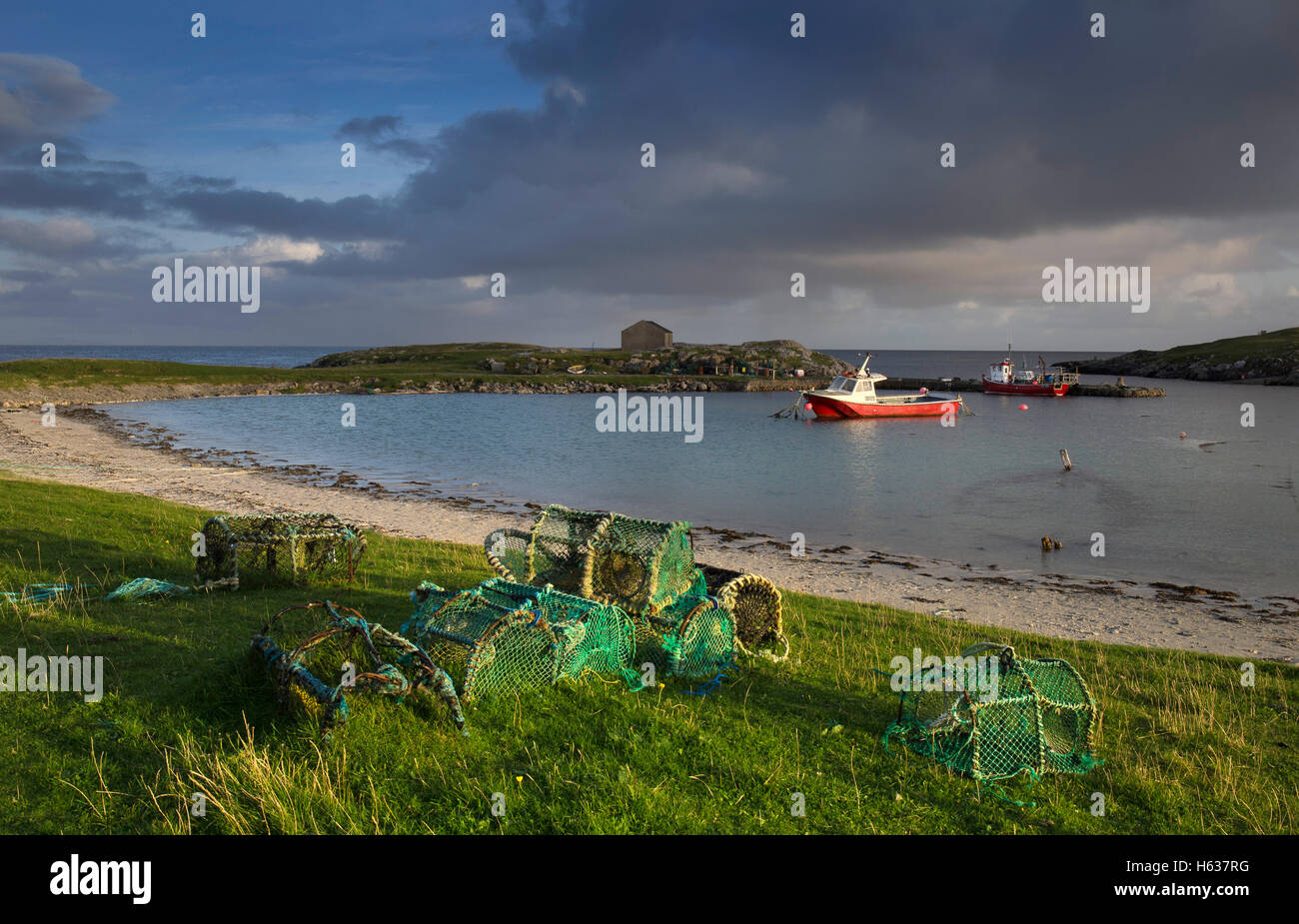 Late afternoon at Scarinish Harbour,Tiree,Inner Hebrides,Argyll and Bute,Scotland - Stock Image