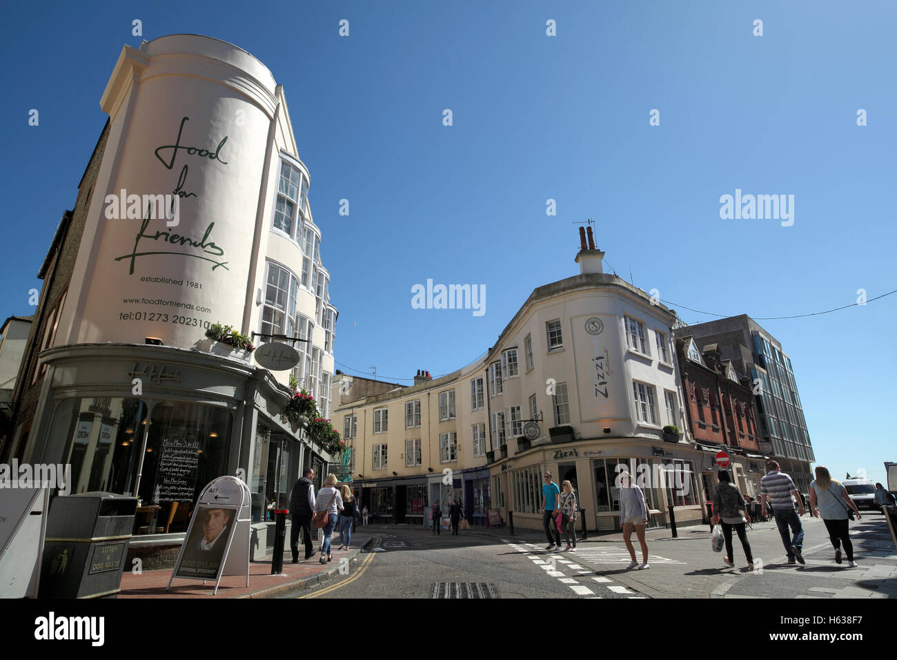 Prince Albert Street (winding off to the left), Brighton town centre, East Sussex. - Stock Image