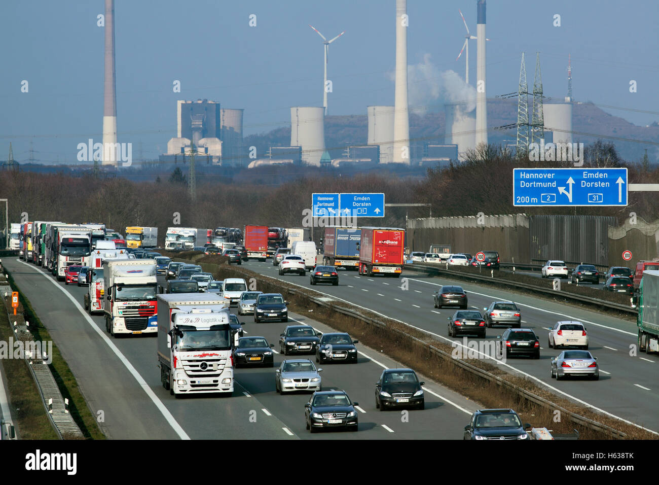 Industrial landscape in the Ruhr: the A2 autobahn near junction 3, Bottrop, North-Rhine Westphalia, Germany. - Stock Image