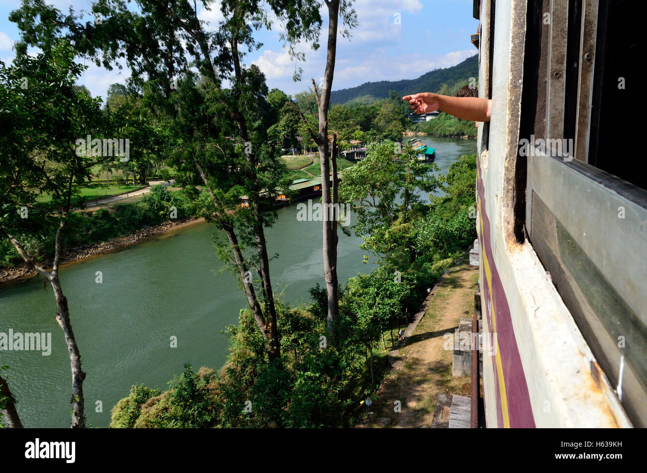 View from the Train between Bangkok to Nam Tok over the River Kwai Bridge - Stock Image