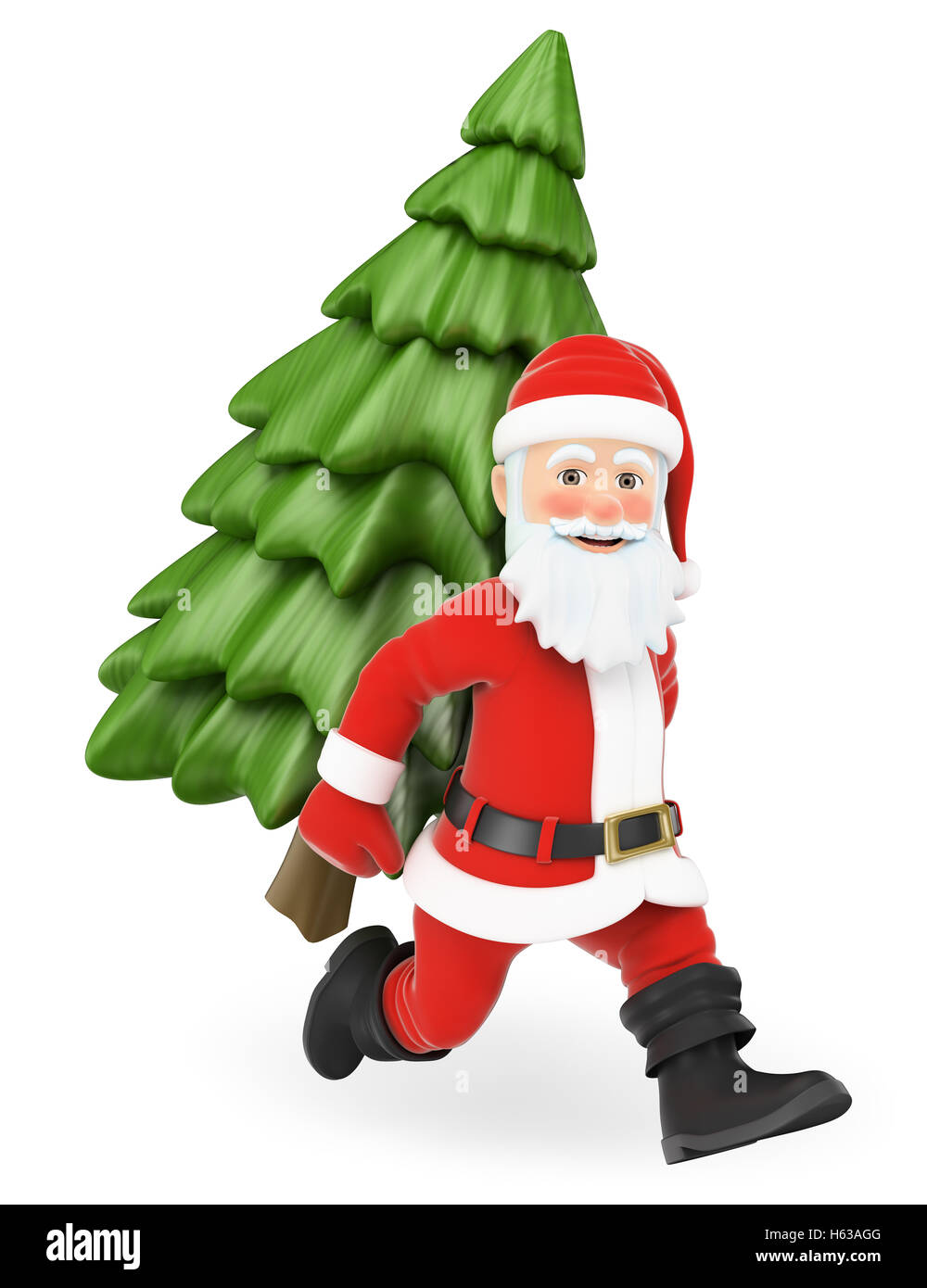 cf4ec4fa0e275 3d christmas people illustration. Santa Claus running with a fir tree on  back. Isolated white background.