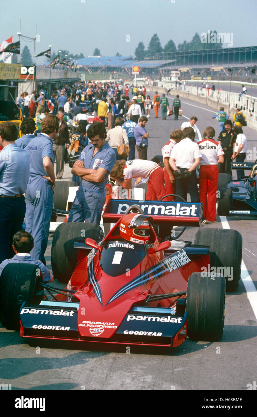 Niki Lauda in his Brabham BT46 racing car in the pits Brands Hatch UK 1978 - Stock Image