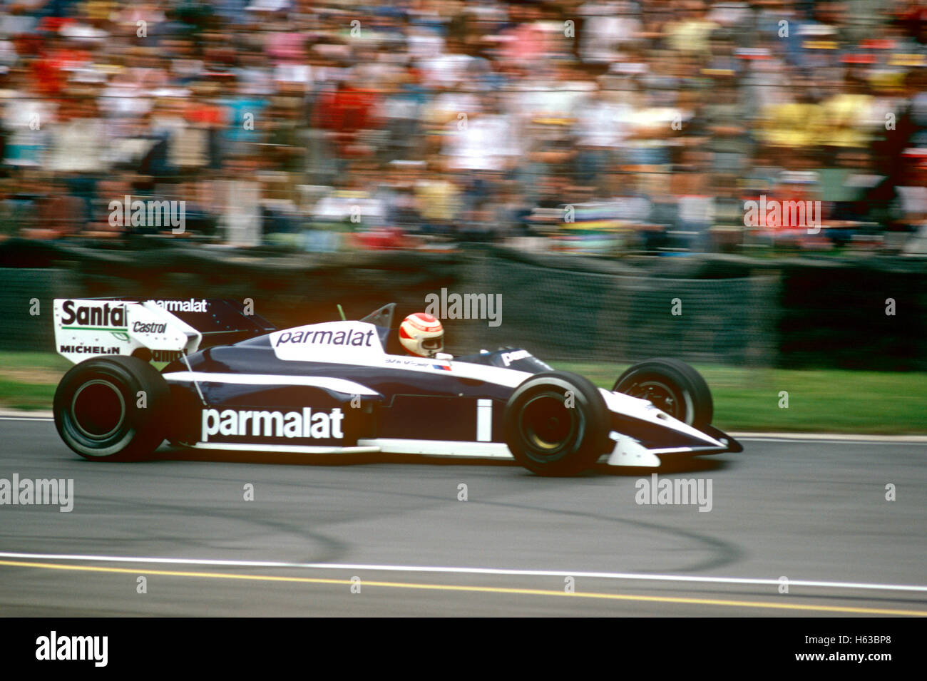 Nelson Piquet driving a Brabham BT53 BMW racing car in 1984 - Stock Image