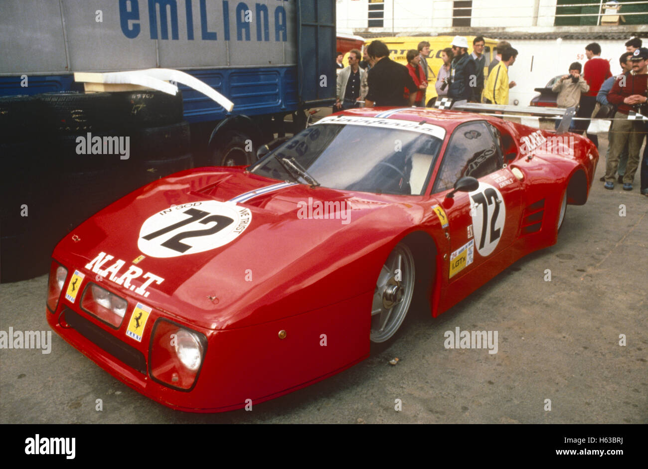 72 Alain Cudini, John Morton, John Paul in a Ferrari 512BB finished 9th at Le Mans 24 Hours 20 June 1982 - Stock Image