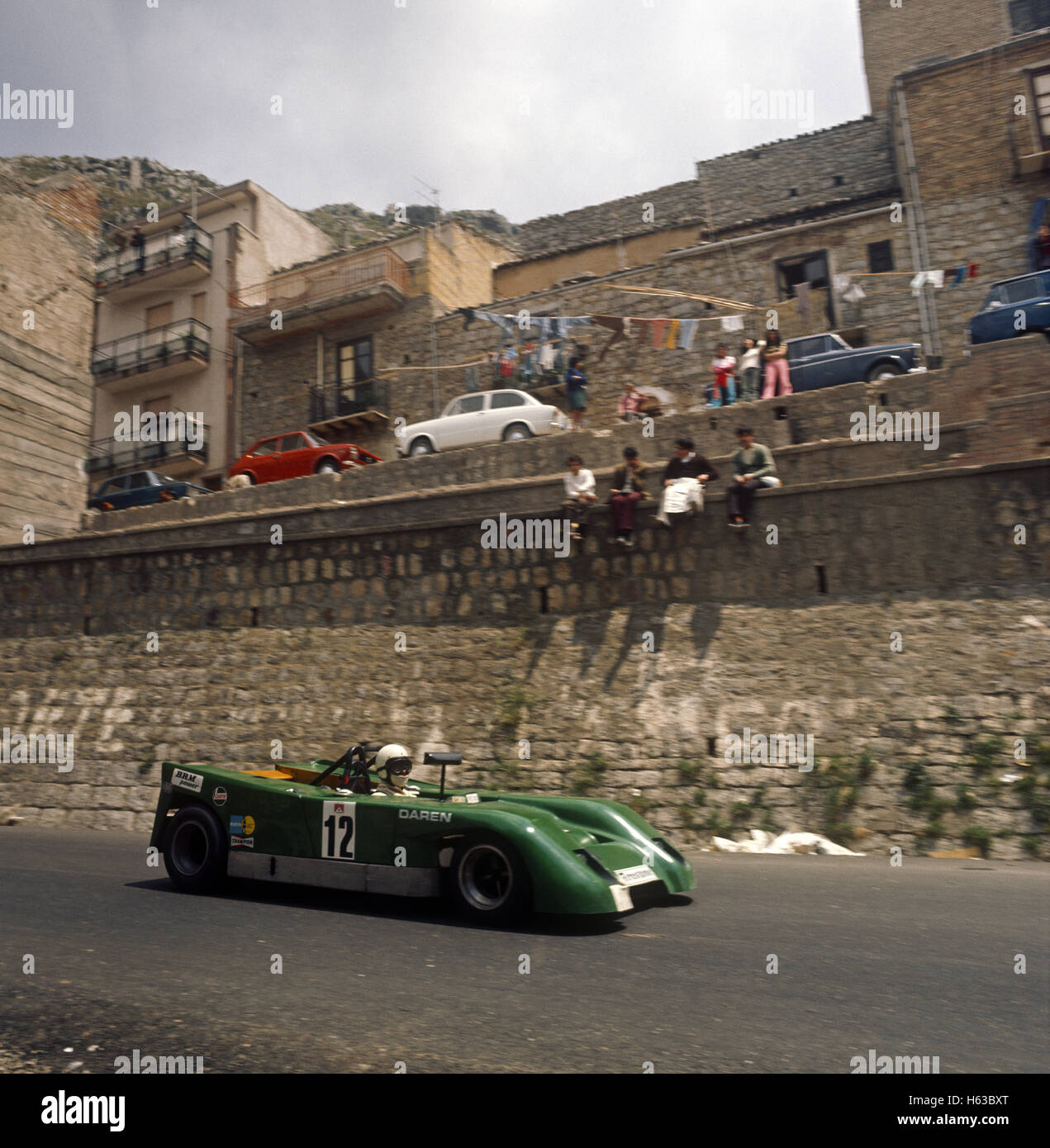 12 Jack Wheeler and Martin Davidson in the Daren Mk3 BRM finished 29th in the Targa Florio 13  May 1973 - Stock Image