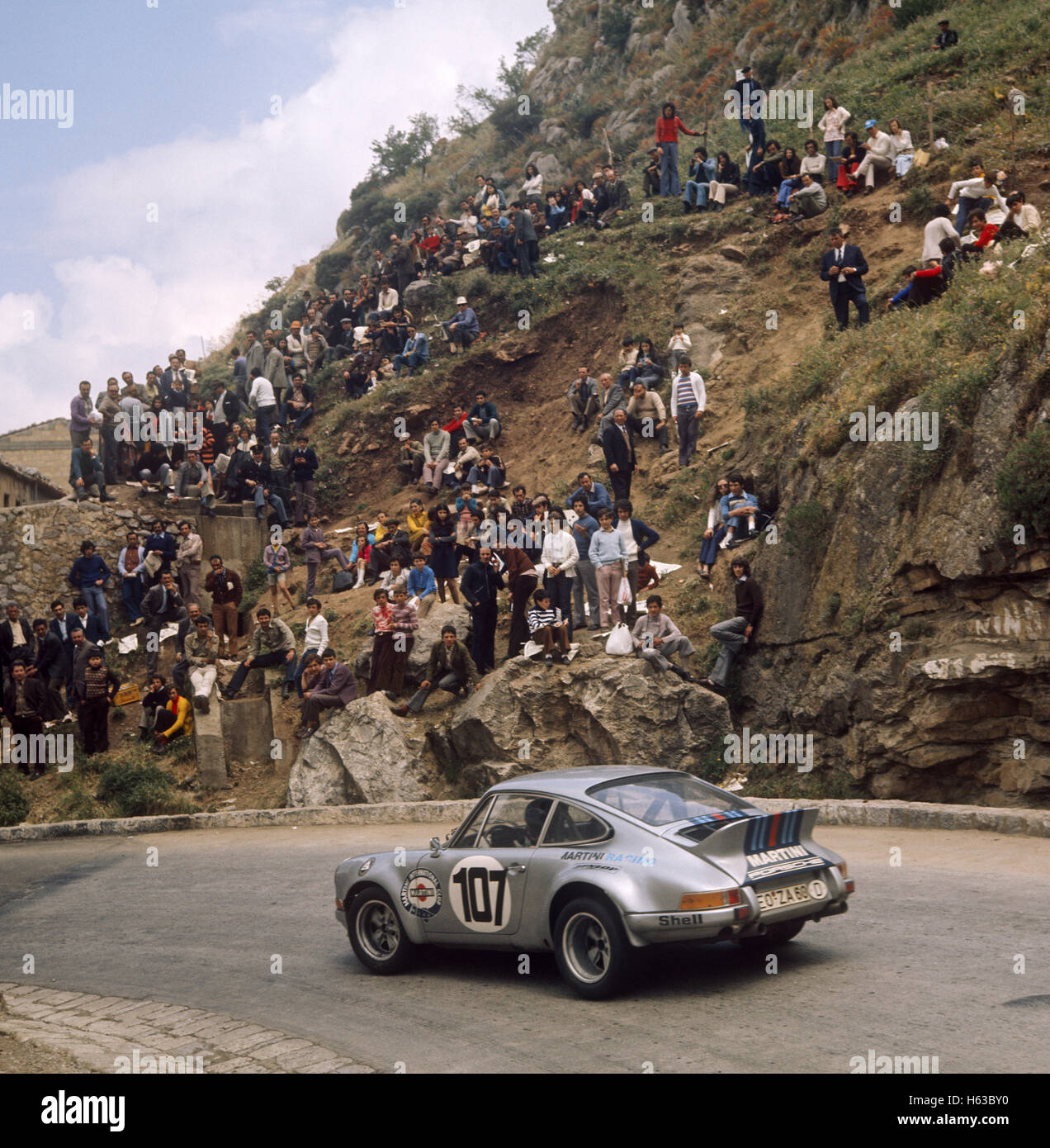 107 Günter Steckkönig and Giulio Pucci in a  Porsche Carrera 911 finished 6th in the Targa Florio 13 May - Stock Image