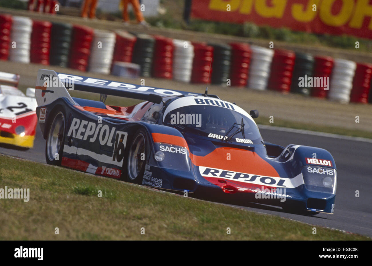 Jésus Pareja and Walter Brun Porsche 962C entered by Brun Motorsport 1990 - Stock Image