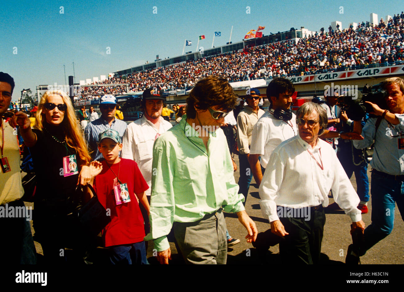 Mick Jagger Jerry Hall and Bernie Ecclestone - Stock Image