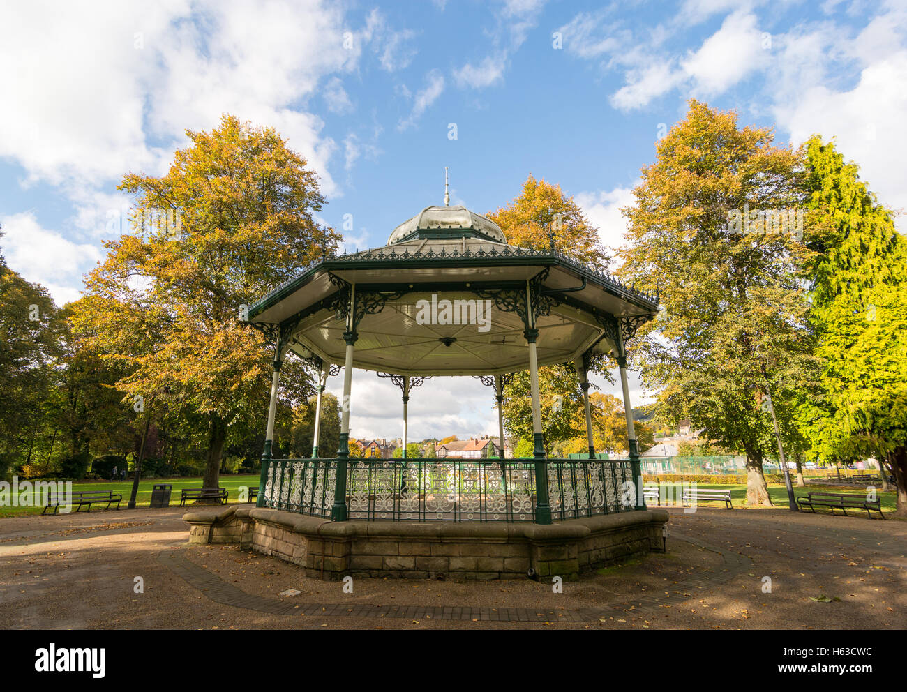 Bandstand In the park at Matlock, Derbyshire, UK. - Stock Image