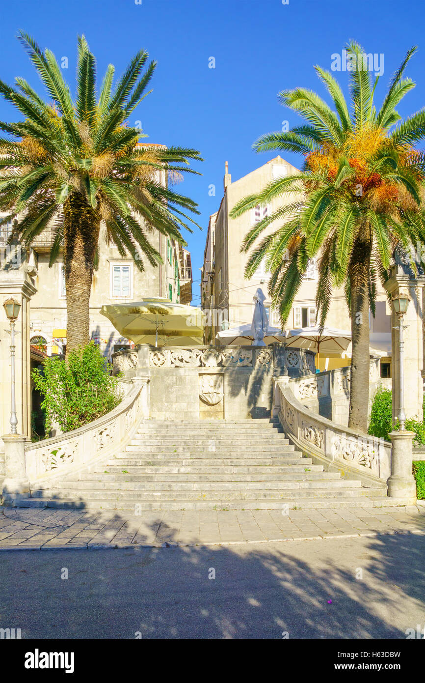 View of the Sea Gate of the old town, in Korcula, Dalmatia, Croatia - Stock Image