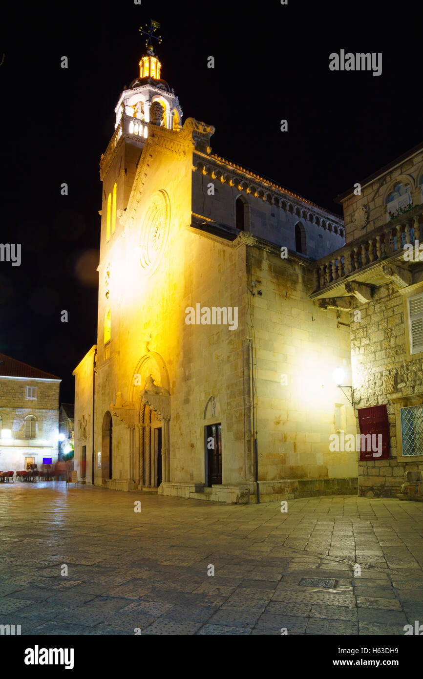 Night Scene of St Mark Cathedral, in the old town of Korcula, Croatia Stock Photo