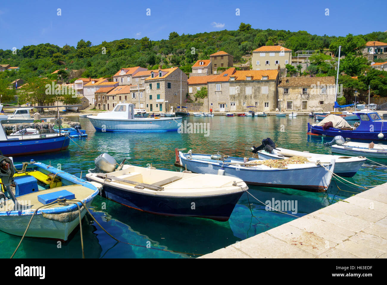 View of the fishing port, in the village Sudurad, Sipan Island, one of the Elaphiti Islands, Croatia - Stock Image