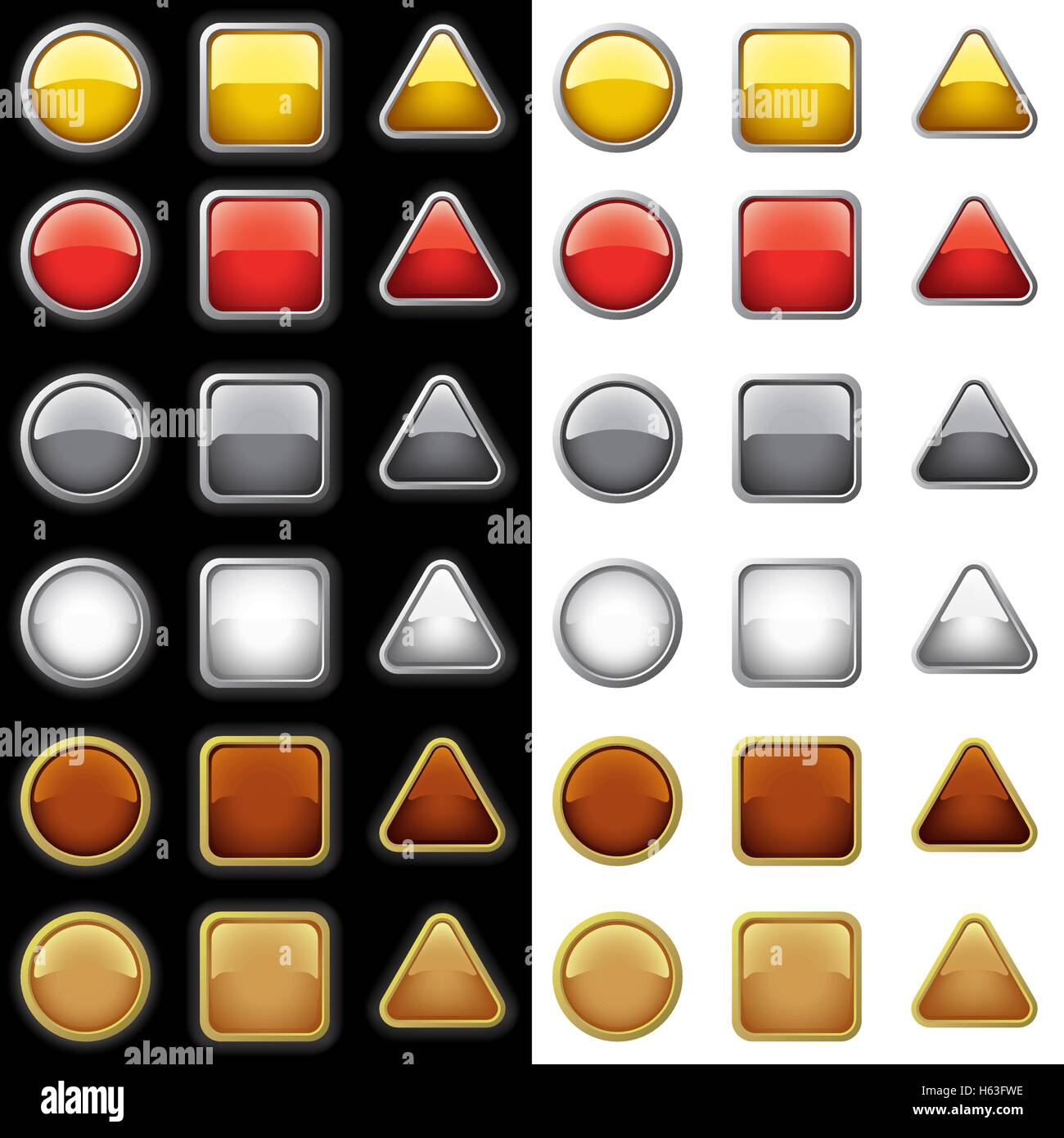 Shiny Buttons Collection - Stock Vector
