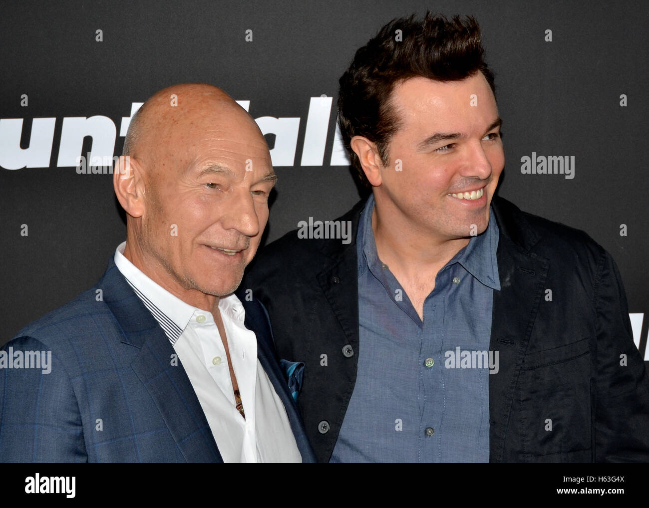 Patrick Stewart and Seth MacFarlane arrived at the STARZ Presents the Los Angeles Premiere of 'BLUNT TALK' - Stock Image