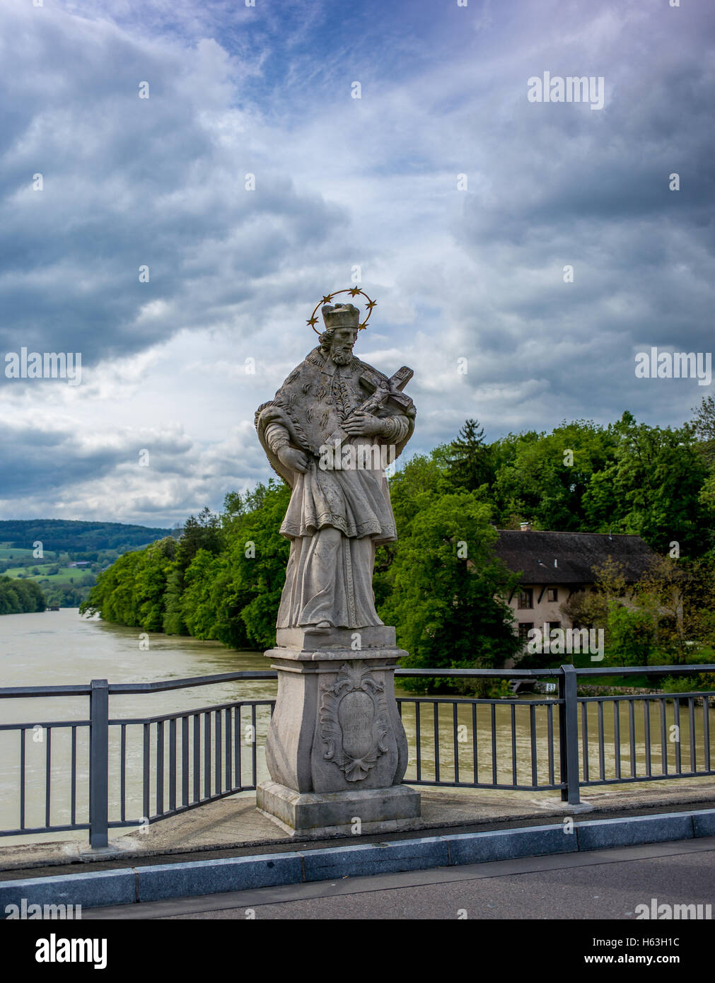 Statue on the Rhine brige signaling entrance into Germany - Stock Image