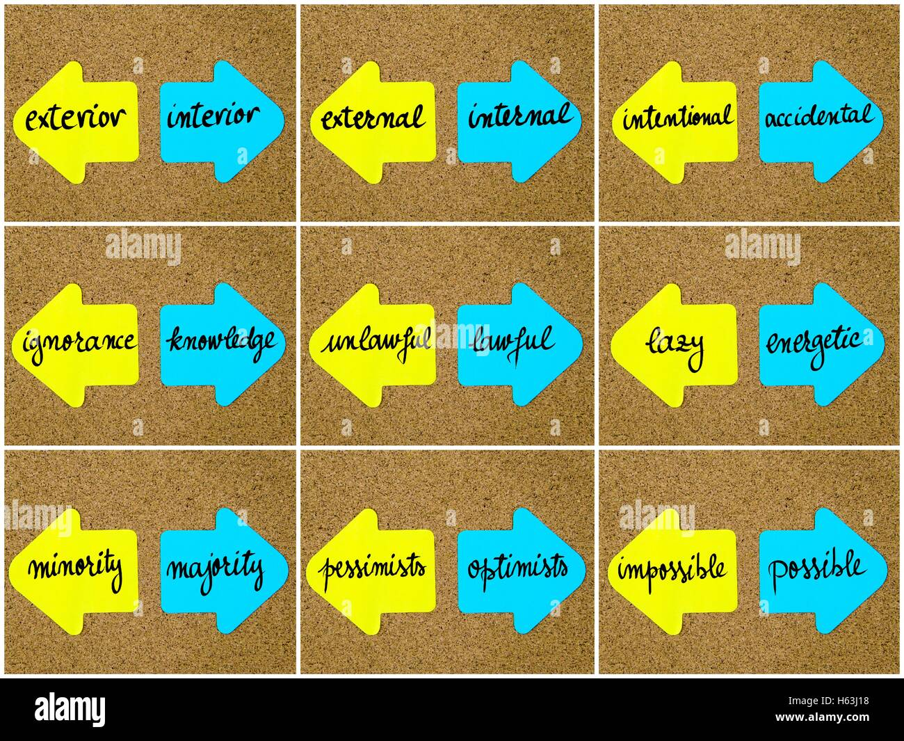 Photo collage of antonym concepts written on yellow and blue paper notes, opposite arrows pinned on cork board with - Stock Image