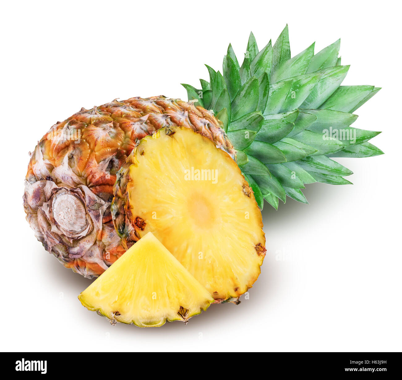 Ripe pineapple isolated on white background clipping path - Stock Image