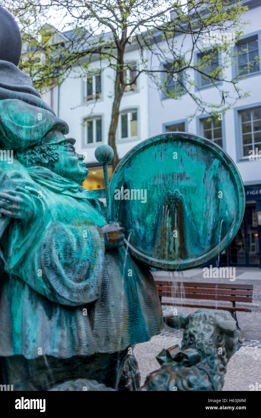 LUXEMBOURG, LUXEMBOURG - MAY 05, 2016: Bronze sculpture by Wil Lofy of a music band installed in 1982 on the Grand - Stock Image