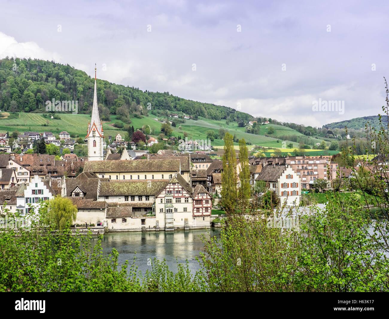 Picturesque skyline of the village of Stein am Rhein - 1 Stock Photo