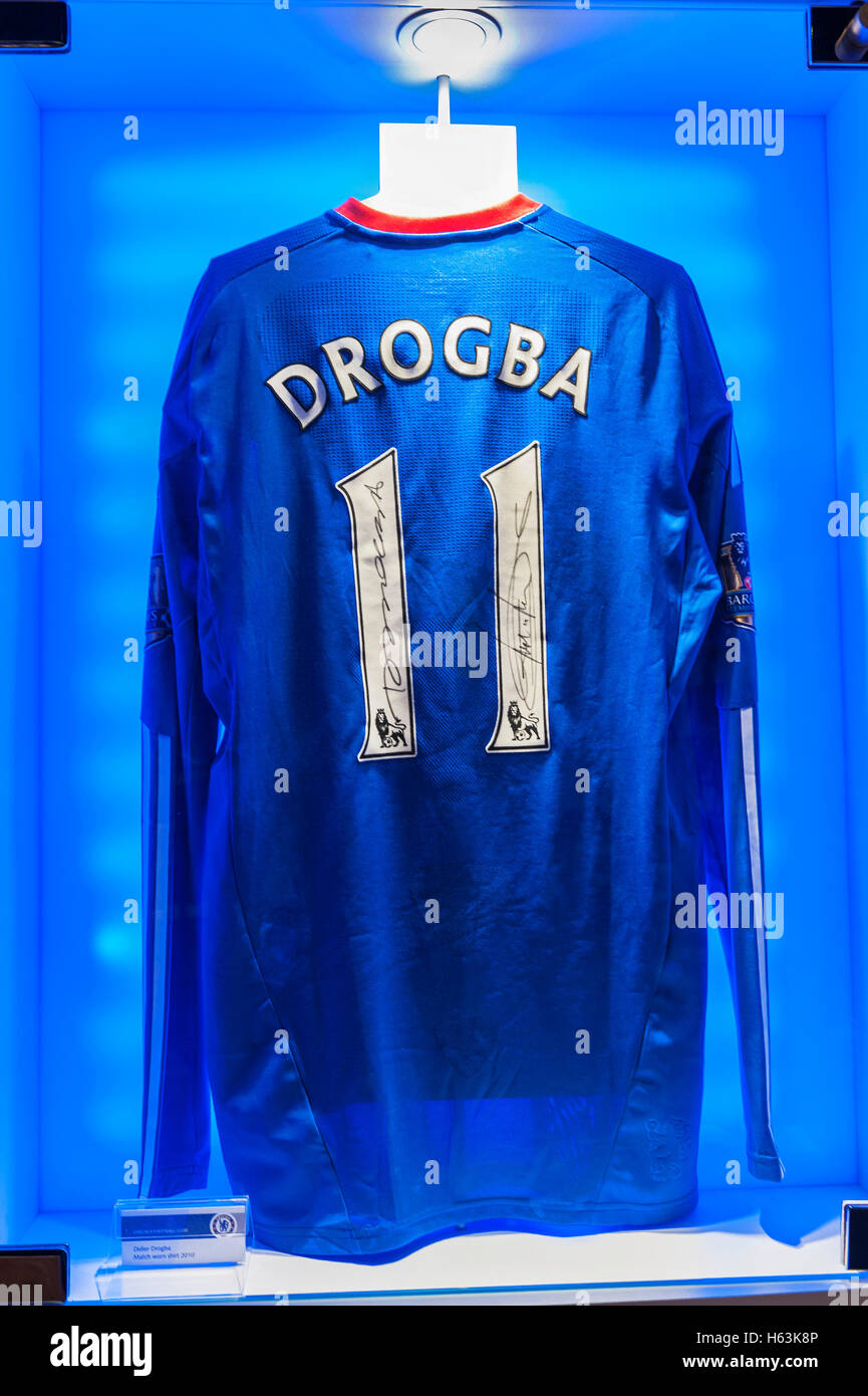 huge selection of 15b3c 9d788 Didier Drogba shirt in FC Chelsea museum Stock Photo ...