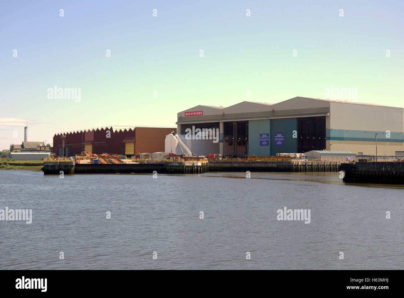 BAE Systems  Glasgow on the Clyde river in Govan and Yoker British defence arms company - Stock Image