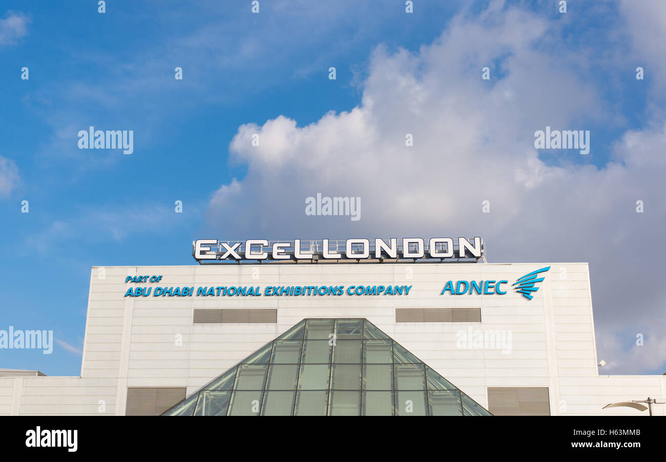 The ExCeL Center, an exhibitions and international convention center situated near Royal Victoria Dock, London Docklands, - Stock Image