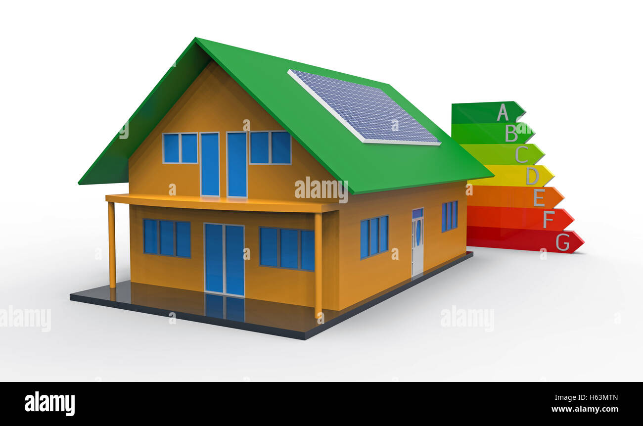 High Quality House And Energy Efficiency Chart, 3d Rendering, On The White Background    Stock Image