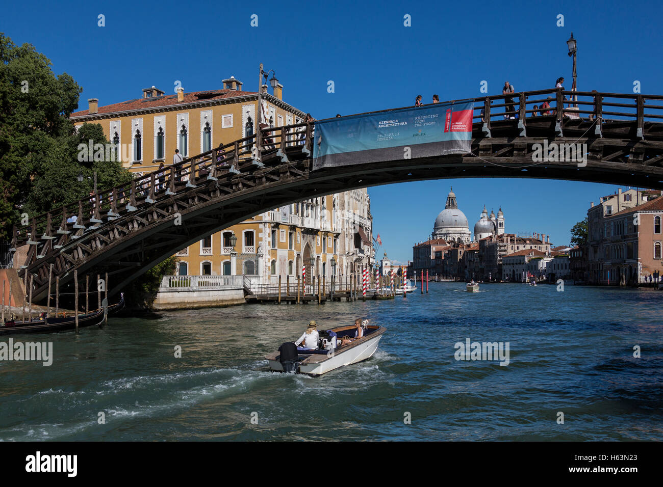 The Grand Canal in the city of Venice in northern Italy. View from under the Ponte dell Accademia. - Stock Image