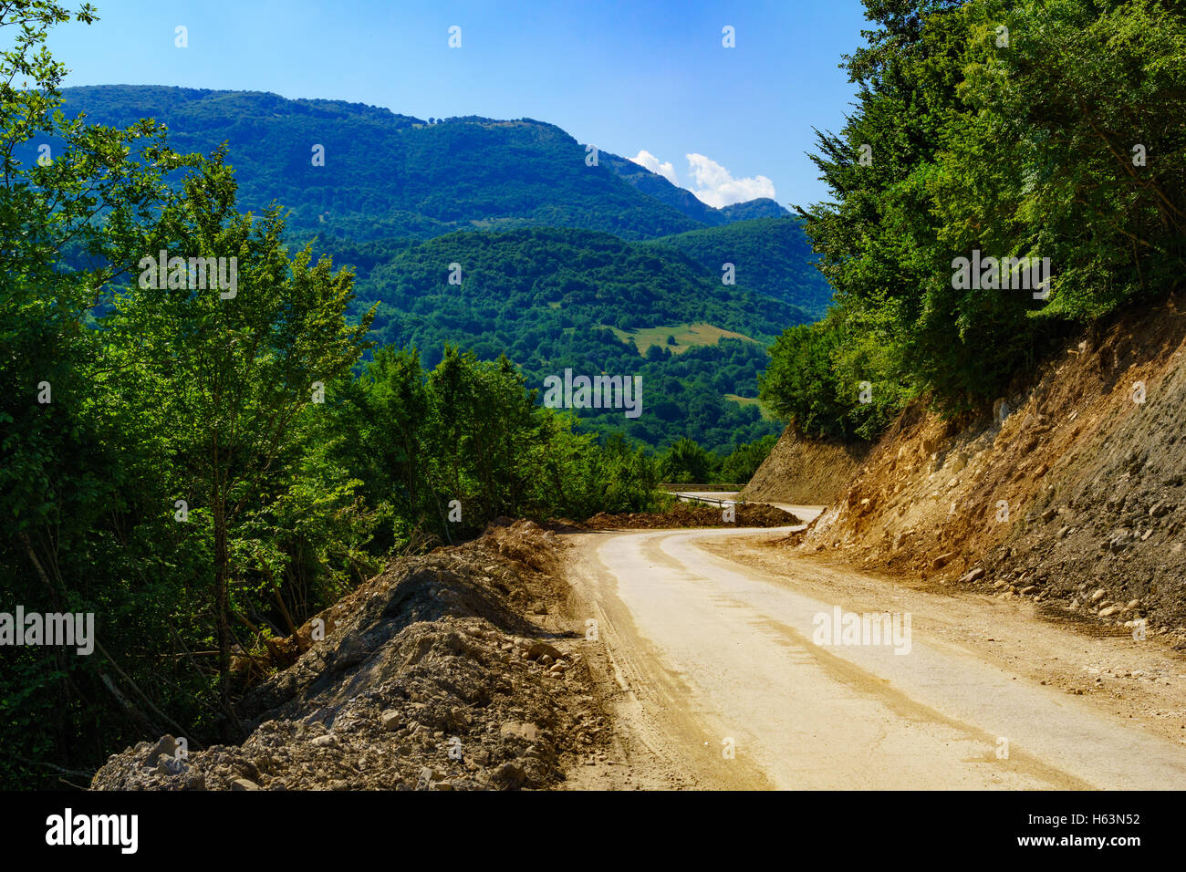View and landscape along the M18 road in the Republika Srpska, Bosnia and Herzegovina - Stock Image