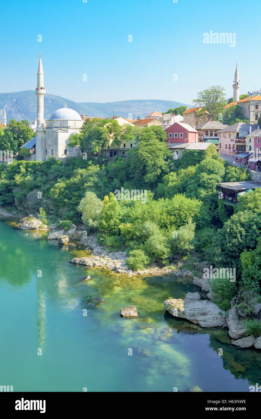 Mosques and minarets in the old city of Mostar, Bosnia and Herzegovina - Stock Image