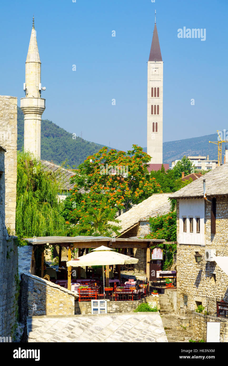 Mosques and churches in the old city of Mostar, Bosnia and Herzegovina - Stock Image