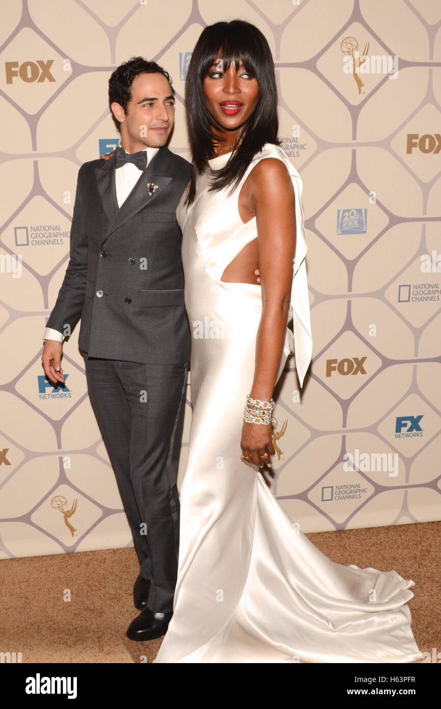 Zac Posen and Naomi Campbell attends the 67th Primetime Emmy Awards Fox after party on September 20, 2015 in Los - Stock Image