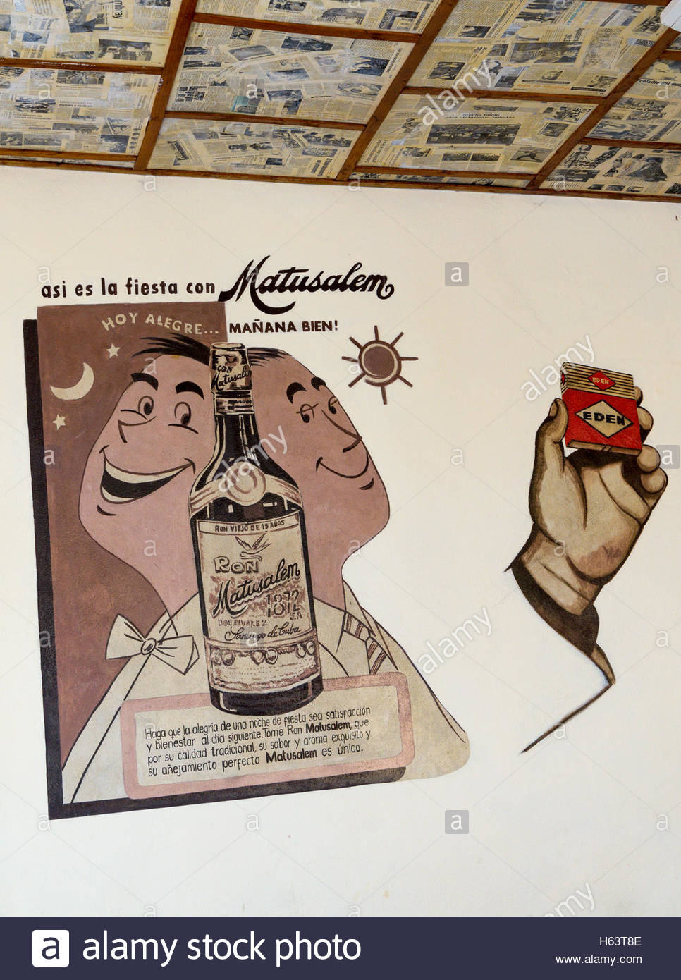 Advertisement of Matusalem Rum. Modern business used the Cuban past as a theme for decoration. The newspaper laid - Stock Image