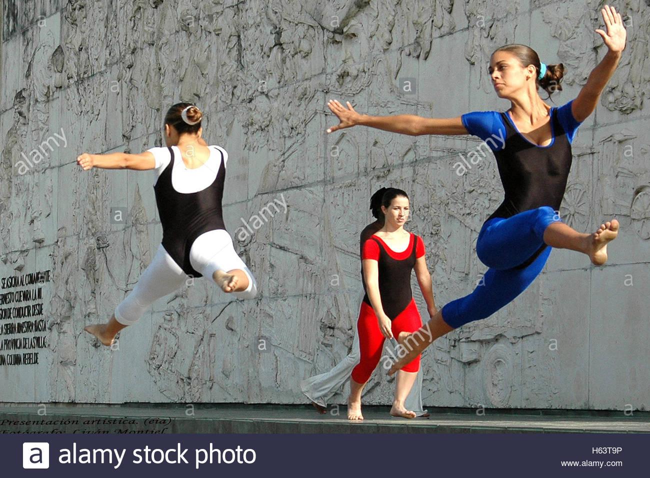 Anti Imperialist Open Forums or Tribunas Abiertas Anti imperialistas in Che Guevara Memorial.   Acrobatic Gymnasts - Stock Image
