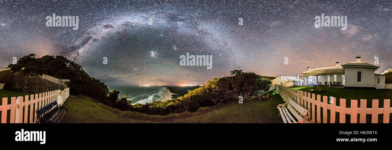 A 360° panorama and from horizon to zenith of the southern sky and Milky Way from Smoky Cape and the grounds - Stock Image