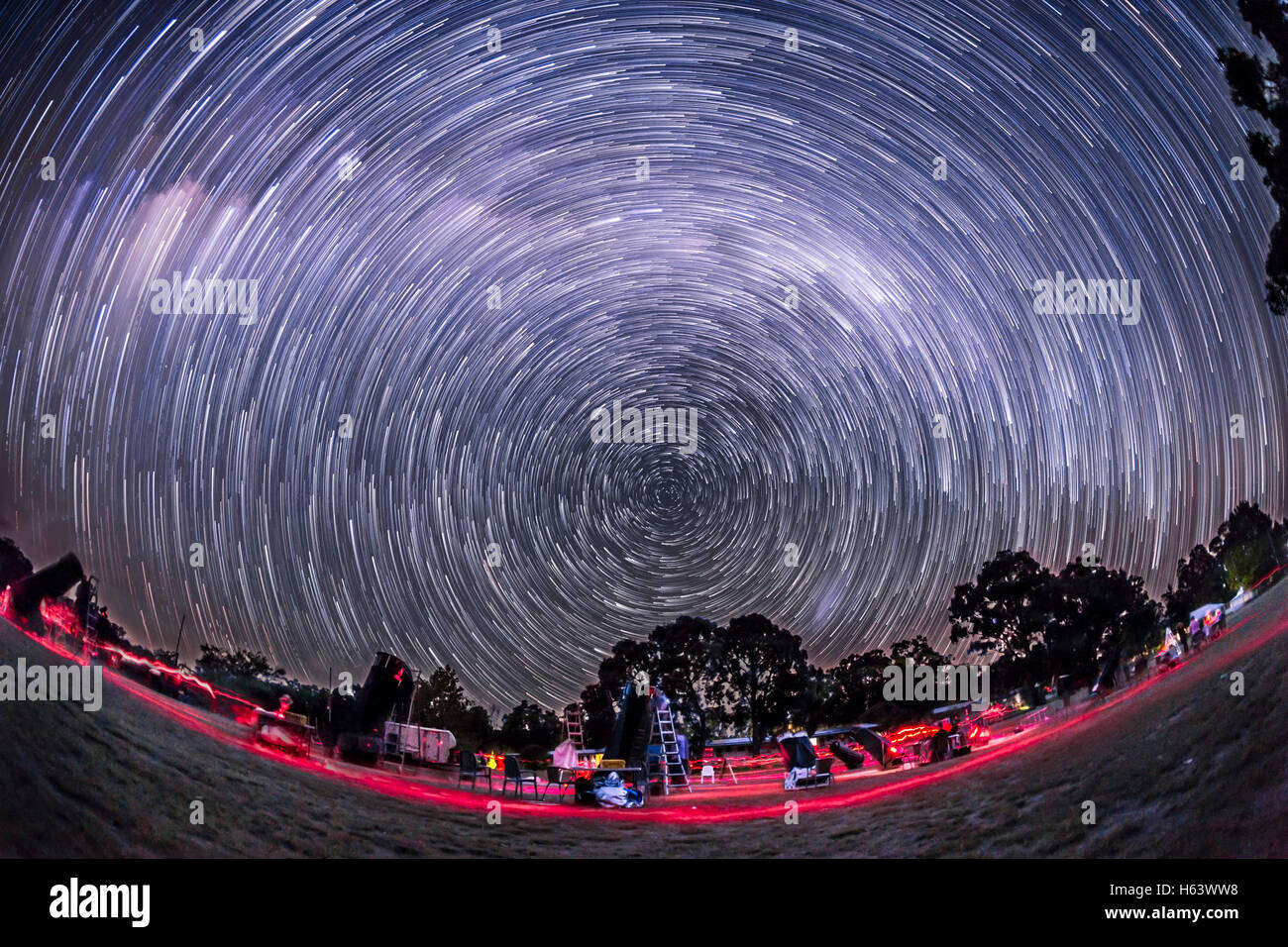 The southern hemisphere sky turning about the South Celestial Pole in April 2016, taken at OzSky star party looking - Stock Image