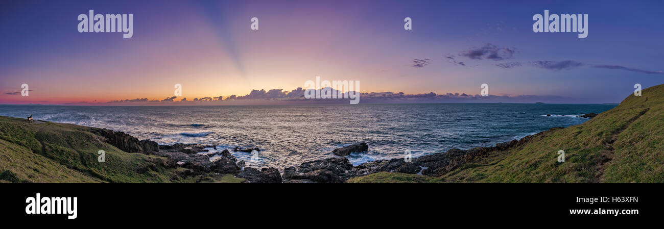 A sunrise sky over the Pacific Ocean from the Woolgoolga Headlands viewpoint, at dawn on April 23, 2016. This was - Stock Image